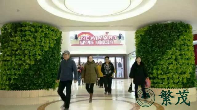 沈阳某商场入口柱型植物墙案例
