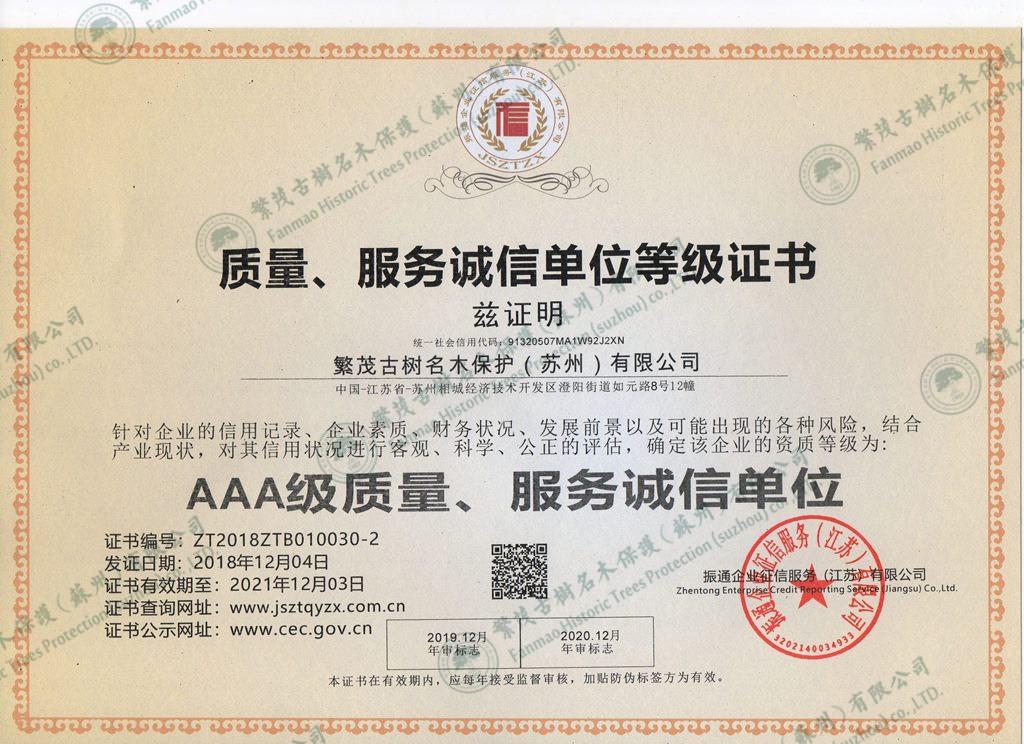 质量、服务诚信单位等级证书
